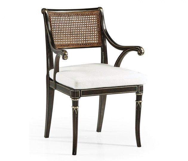 Linden Charcoal Wash Dining Arm Chair, Upholstered in COM by Distributor