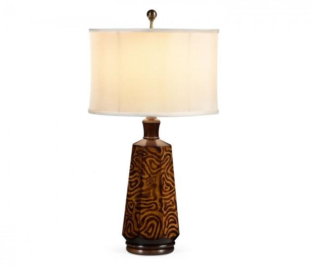 Hexagonal Dijon Burl Table Lamp