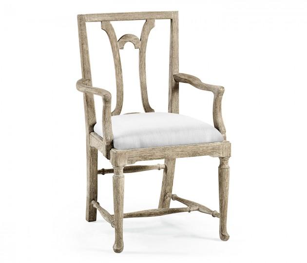 Lewellen Grey Oak Armchair, Upholstered in COM