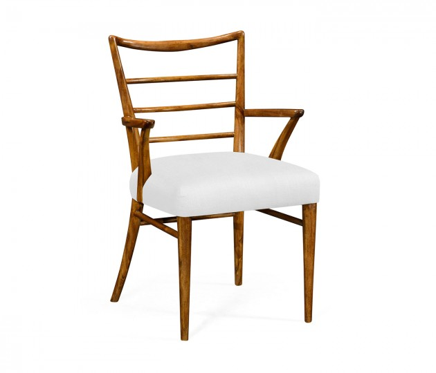 Pensacola Grey Fruitwood Dining Armchair, Upholstered in COM