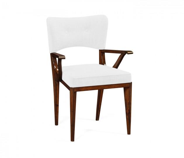 Marlene Dark Walnut Armchair, Upholstered in COM