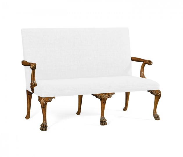 Charlotte Grey Fruitwood Settee, Upholstered in COM