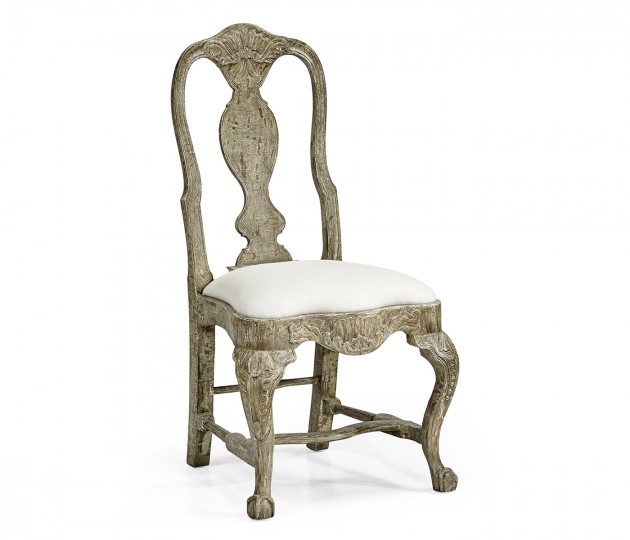 Jacob Country Distressed Dining Chair, Upholstered in COM