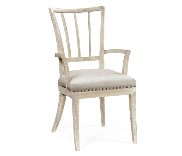 Lucillo Washed Acacia Carver Armchair
