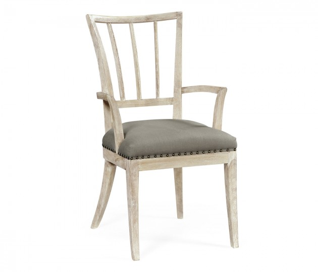 Lucillo Washed Acacia Carver Armchair, Upholstered in COM