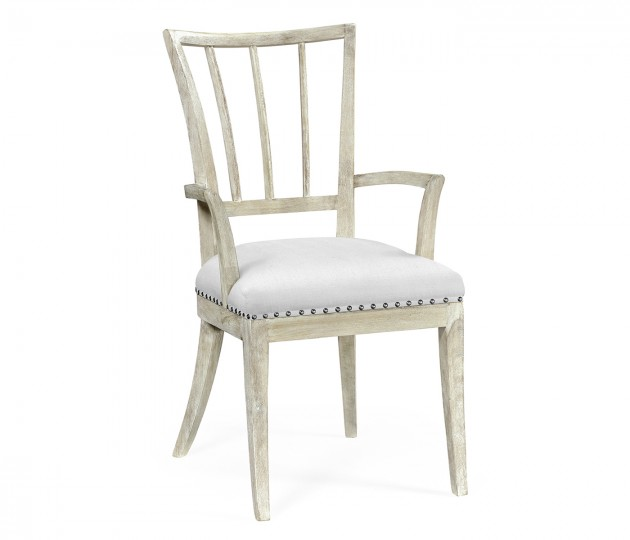 Bywater Washed Acacia Carver Armchair, Upholstered in COM