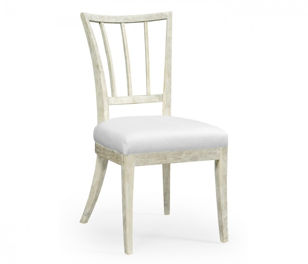 Bywater Washed Acacia Carver Side Chair, Upholstered in COM by Distributor