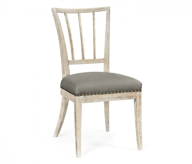 Lucillo Washed Acacia Carver Side Chair, Upholstered in COM
