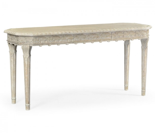 Amazing Carved Venetian White Oak Console Table