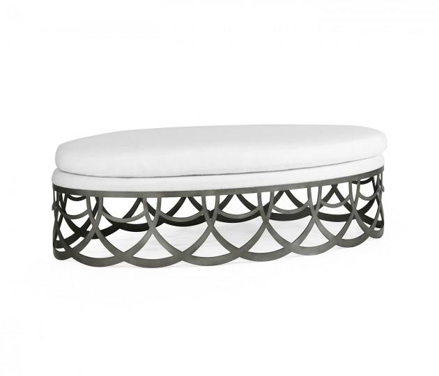 Gigolette Bronzed Stainless Steel Ottoman, Upholstered in COM