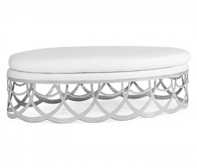 Gigolette Stainless Steel Ottoman, Upholstered in COM by Distributor