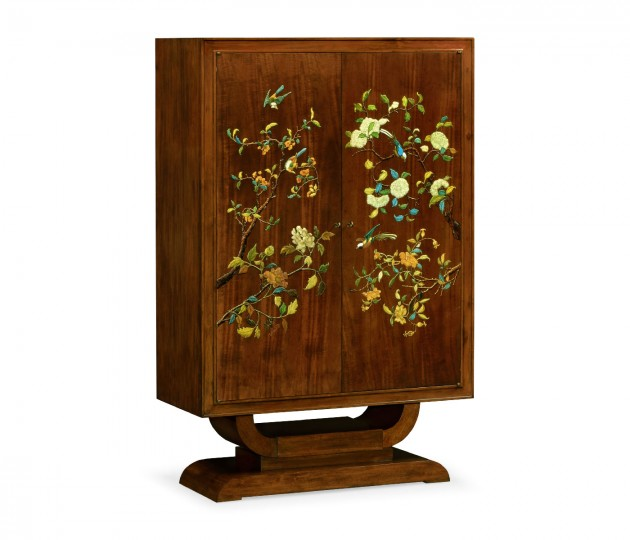 Art Deco Imperial Mahogany & Handpainted Right Salon Cabinet