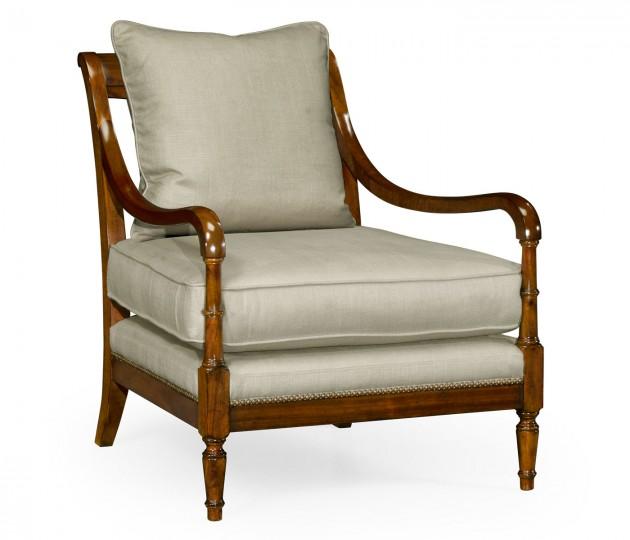 Biedermeier Medium Mahogany Lounge Chair, Upholstered in MAZO