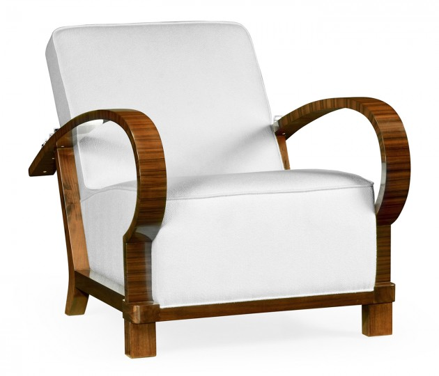 Moderne High Lustre Santos Rosewood Armchair, Upholstered in COM