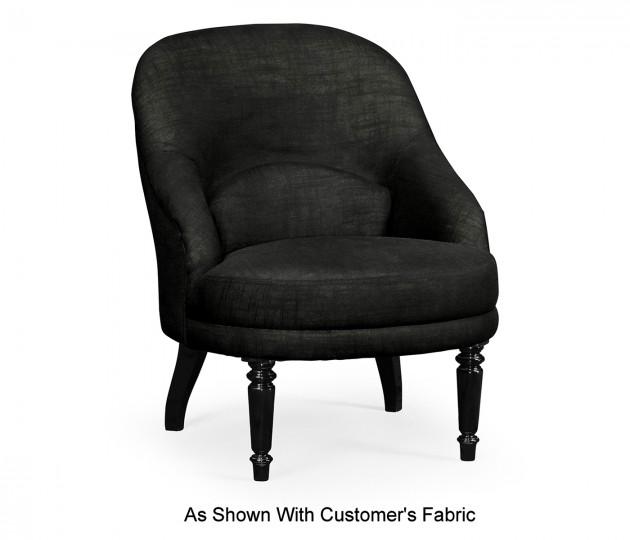 Napoleon III Black Slipper Chair, Upholstered in COM