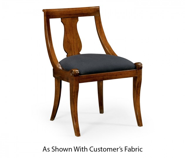 Empire Imperial Mahogany Side Chair, Upholstered in COM