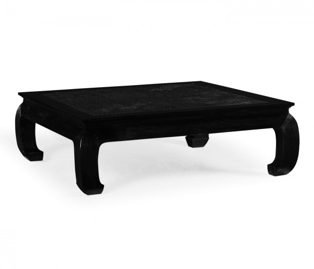 Square Ming Ebonized Coffee Table with Ebonized Rattan Top