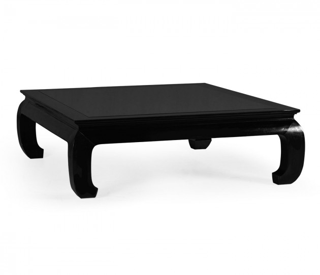 Square Ming Ebonized Coffee Table with Black Glass Top