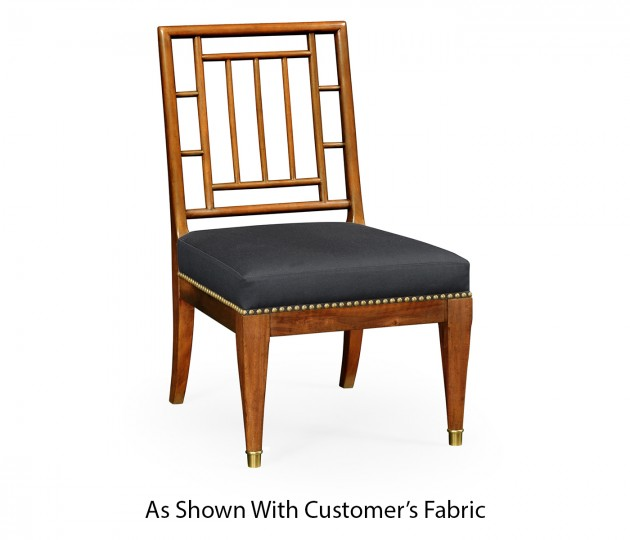 Low Chauffeuse Imperial Mahogany Chair, Upholstered in COM