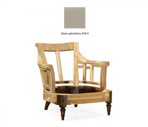 Louis Philippe Antique French Walnut Tufted Armchair, Upholstered in MAZO