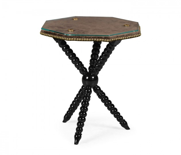 Black Edwardian Campaign Side Table with Glass Top