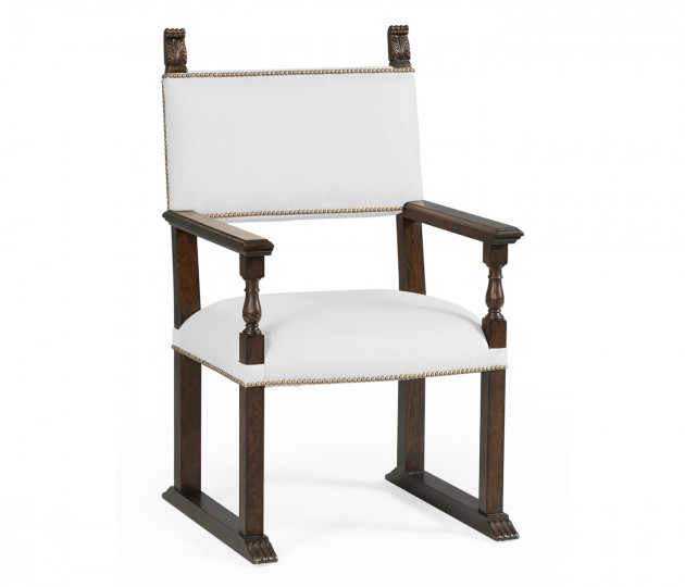 Acanthus Carved Rich Chestnut Dining Armchair, Upholstered in COM
