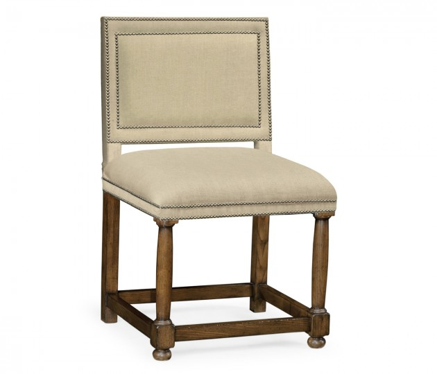 Louise XIII Warm Chestnut Dining Chair, Upholstered in MAZO