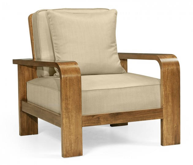 Moderne Medium Brown Elm Lounge Chair, Upholstered in MAZO