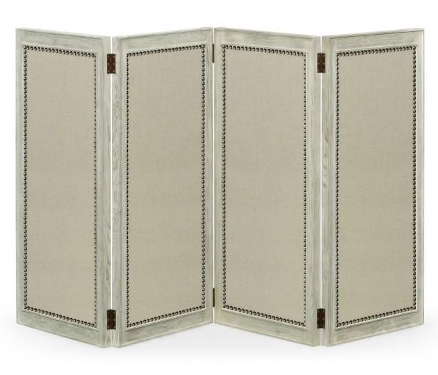 Light Grey Oak Screen, Upholstered in COM