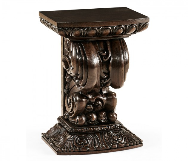 Hand Carved Rich Chestnut Corbel End Table