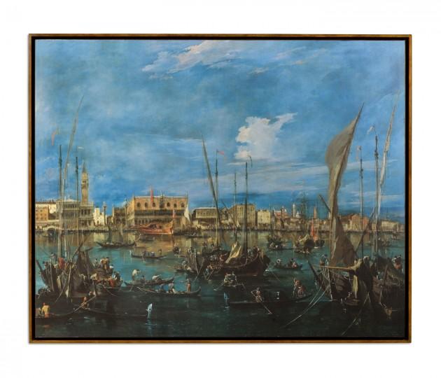Venice San Marco Painting on a Honey Walnut Frame