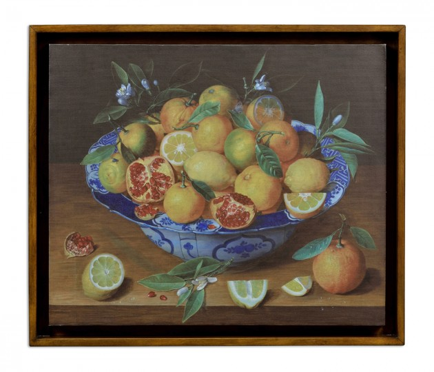 Still Life with Lemons Painting on a Honey Walnut Frame