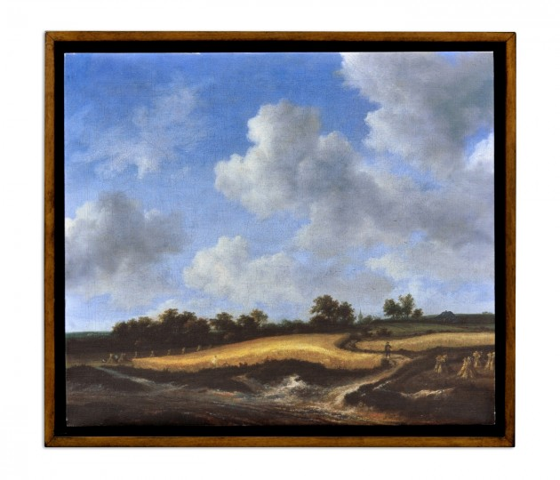 Wheatfield Painting on a Honey Walnut Frame