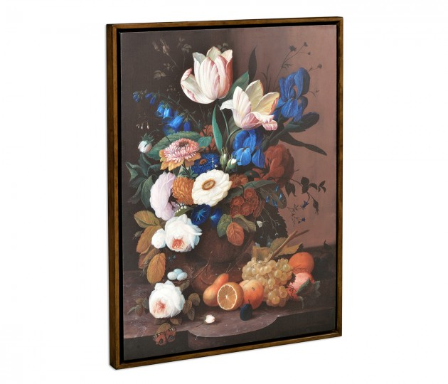 Still Life with Flowers & Fruit Painting on Medium Walnut Frame