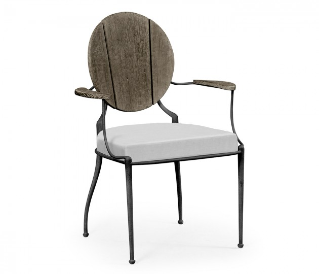 Circle Back Grey & Iron Dining Armchair, Upholstered in COM