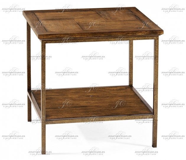 small rushmore Country Walnut Square End Table with Iron Base