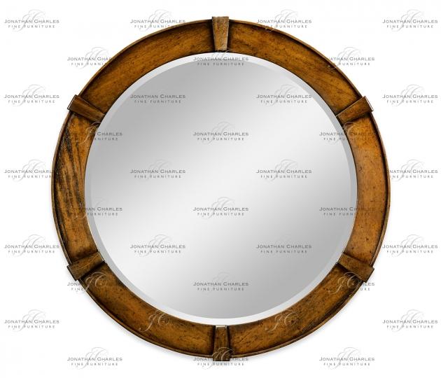 small rushmore Country Walnut Round Mirror