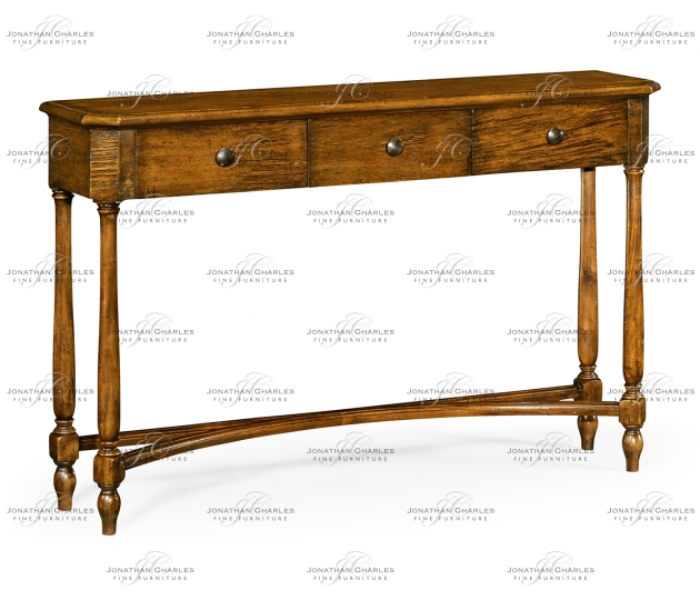 small rushmore Country Walnut Three Drawer Large Console Table