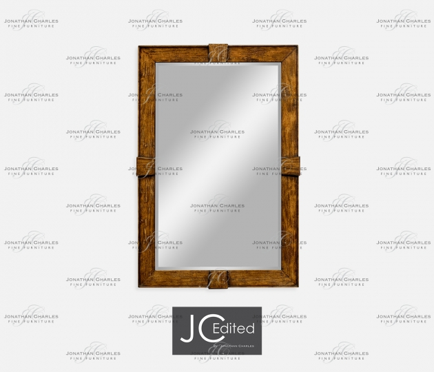 small rushmore Country Walnut Rectangular Mirror
