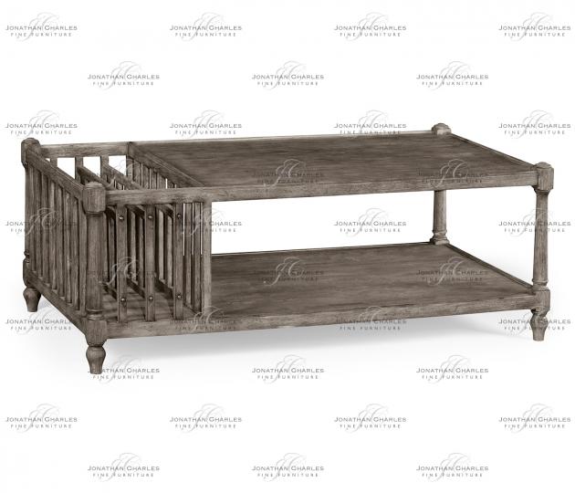 small rushmore Antique Dark Grey Rectangular Coffee Table with Magazine Rack