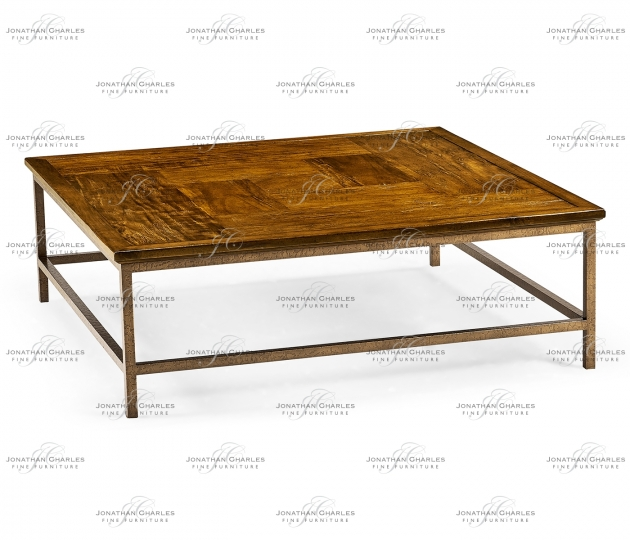 small rushmore Country Walnut Square Coffee Table with Iron Base