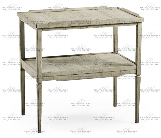 small rushmore Rectangular Rustic Grey Side Table with Rails & Undertier