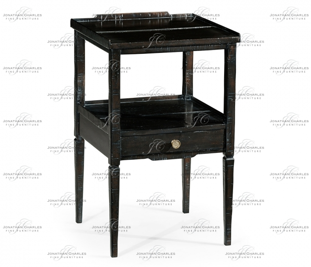 small rushmore Dark Ale Square Lamp Table with Drawer