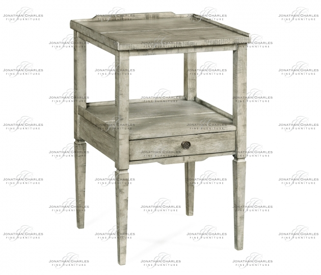 small rushmore Rustic Grey Square Lamp Table with Drawer