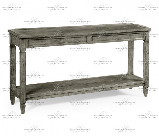 small rushmore Console Table with Drawers in Antique Dark Grey