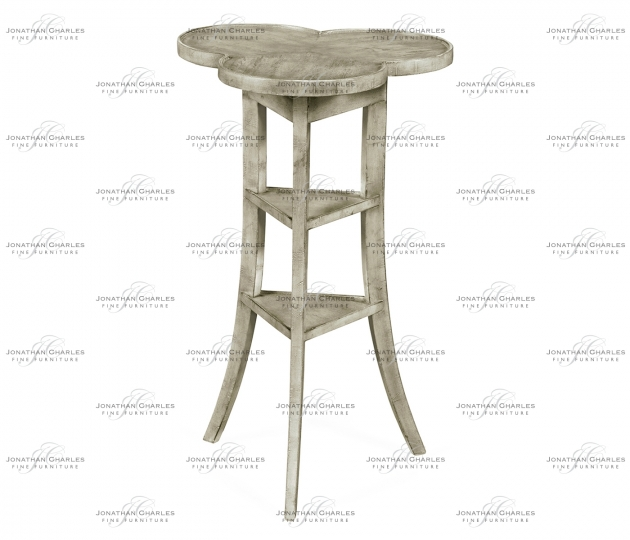 small rushmore Trefoil Side Table with Rustic Grey