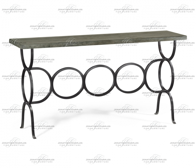 small rushmore Antique Dark Grey Console with Circular Wrought Iron Base