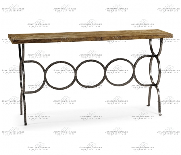 small rushmore Medium Driftwood Console with Circular Wrought Iron Base