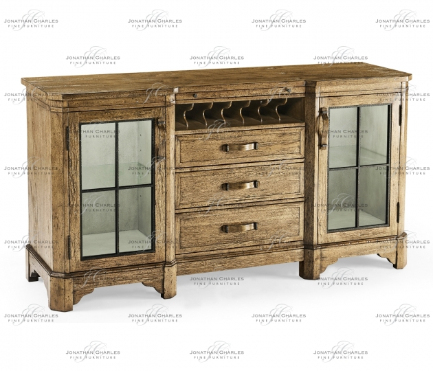 small rushmore Plank Medium Driftwood Low Cabinet & Wine Rack with Strap Handles