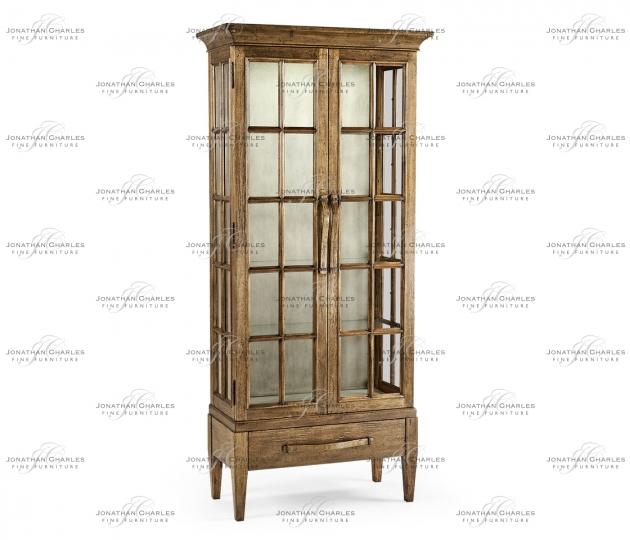 small rushmore Tall Medium Driftwood Plank Glazed Display Cabinet